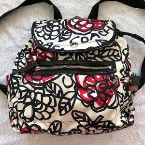 COACH white Hot Pink Black Drawstring Backpack